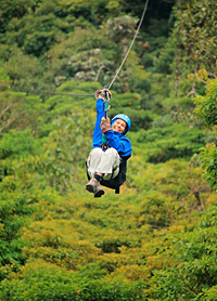 Diksha zipline in the rain forest