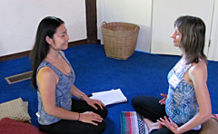 Meditation students practising