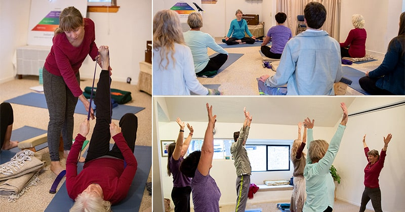 Miatri teaching yoga therapy poses