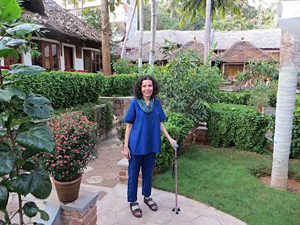 Diksha with walker-in Kerala Ayurvedic Retreat during Ananda Travels
