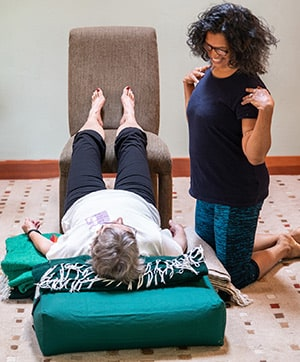 Yoga Therapy Adjustments withe Jacqui and student