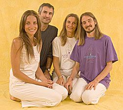Text Box: Production crew for the Ananda Assisi (Italy) yoga therapy books mentioned earlier in this article (l-r): Süheyla (asana model), Tejindra (designer), Sahaja (editor), Jayadev (author, director of Ananda YTT in Assisi)