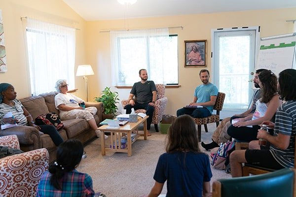 Karma Yoga spiritual interns during Raja Yoga Study group