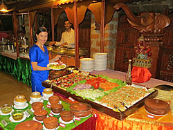 Diksha choosing food in Kerala