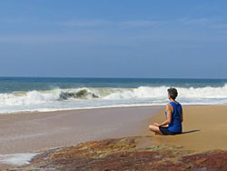 Gyandev meditating on beach in Kerala