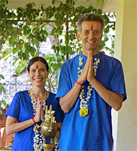 Diksha And Gyandev at the ayuredic resort, Kerala, India, 2014