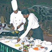 The resort chefs demonstrating Indian cooking