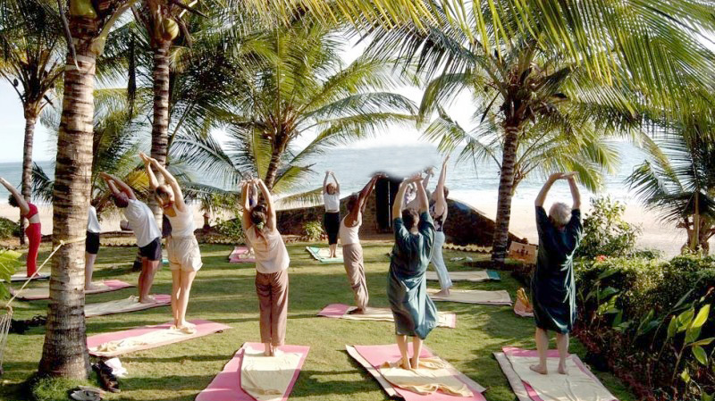 Kerala Ayurvedic Resort yoga by the beach group