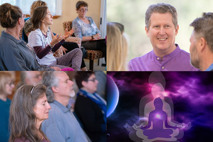 Montage of teacher and pupils at The Expanding Light Retreat