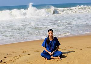 Meditating near the Arabian Sea, Kerala, India