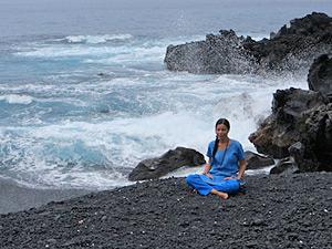 Meditating near Pacific Ocean, Kona, Hawaii