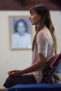 Student practicing meditation at The Expanding Light Retreat