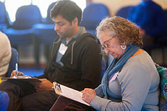 Program guests concentrating on their goals