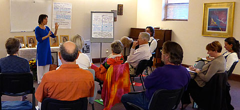 Mantradevi teaching class at The Expanding Light Retreat