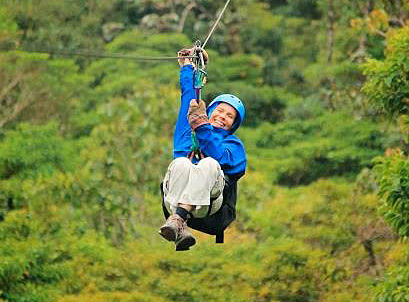 Diksha on zipline during the Costa Rica Retreat