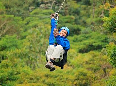 Diksha on zipline during the Costa Rica Retreat