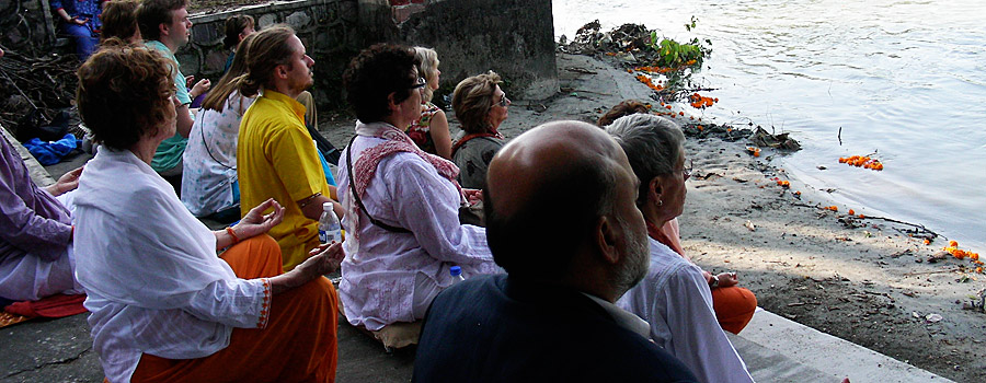 Meditation on the banks of the Ganges