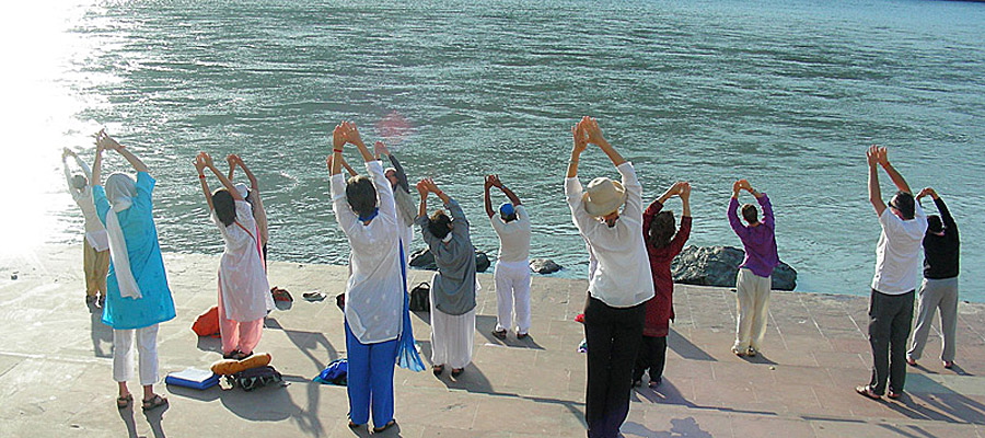 Yoga on the banks of the Ganges
