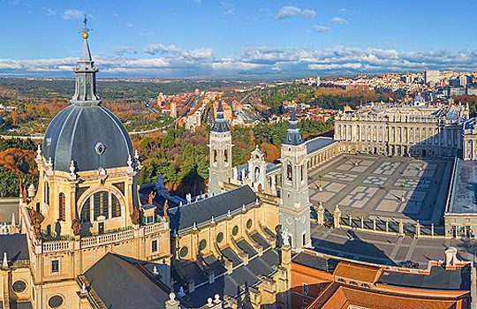 Almudena Cathedral looking over to Royal Palace Madrid-Spain